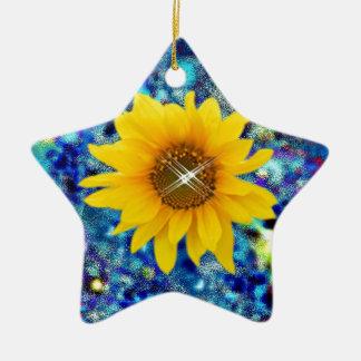 De lente van de zonnebloem verblindt giften keramisch ster ornament