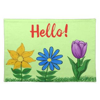 De Lente van Hello bloeit Groene lacemat Placemat