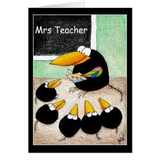 De leraar en de studenten danken u nota nemen van briefkaarten 0