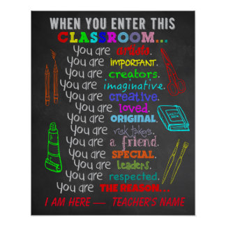 De Leraar van de kunst - wanneer u Dit Klaslokaal Poster