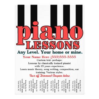 De Lessen van de piano. Privé-leraar. De Leraar Flyer 21,6 X 27,9 Cm