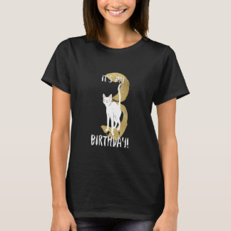 De leuke 3de Verjaardag van de Kat met het Gouden T Shirt