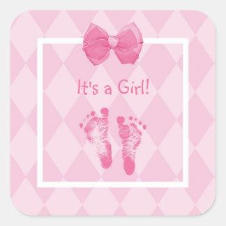 De leuke Aankondiging van de Geboorte van de Vierkante Sticker