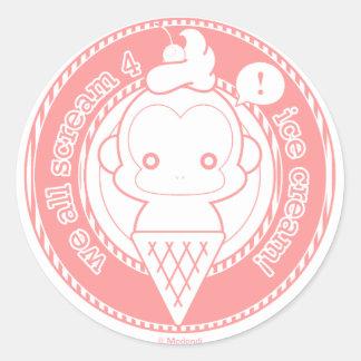 De leuke Aap van het Roomijs Ronde Sticker