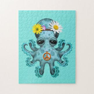 De leuke Blauwe Hippie van de Octopus van het Baby Puzzels