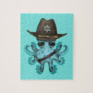 De leuke Blauwe Sheriff van de Octopus van het Foto Puzzels