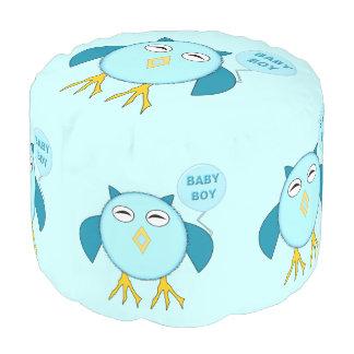 De leuke Blauwe Uil van de Jongen van het Baby om Ronde Poef