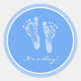 De leuke Blauwe Zijn Voetafdrukken van het Baby Ronde Sticker