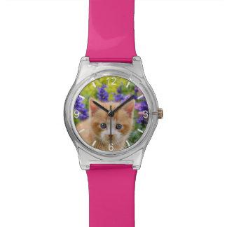 De leuke Bloemrijke Tuin van het Katje van de Kat Horloge