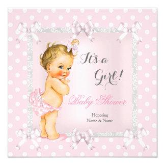 De leuke Blonde van het Meisje van het Baby shower 13,3x13,3 Vierkante Uitnodiging Kaart