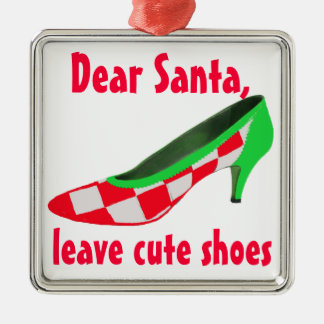 De leuke Brief van Schoenen aan de Kerstman Zilverkleurig Vierkant Ornament