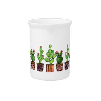 De leuke Cactus van de Waterverf in Potten Drink Pitcher