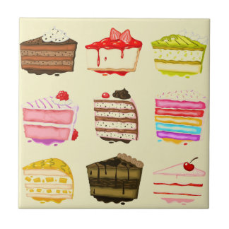 De leuke cake van de cakeverjaardag met kleurrijke tegeltje