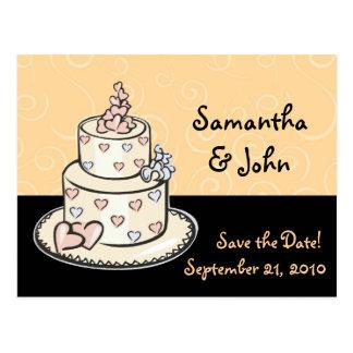 De leuke Cake van het Huwelijk bewaart de Datum Briefkaart