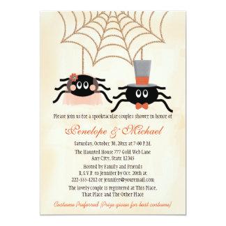 De leuke Douche van de Paren van Halloween van de 12,7x17,8 Uitnodiging Kaart
