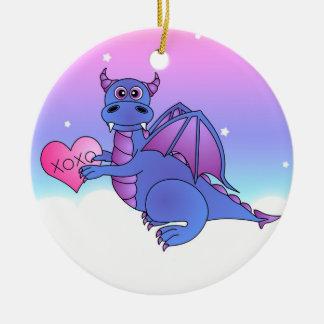 De leuke Draak die houdt van u - Blauw/Paars Rond Keramisch Ornament