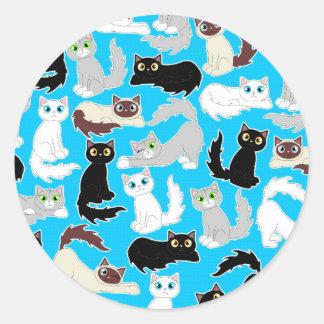 De leuke Druk van de Kat van de Cartoon van Katten Ronde Sticker