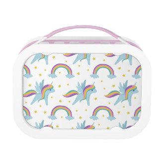 De leuke Eenhoorn van de Fee + regenbogen witte Lunchbox