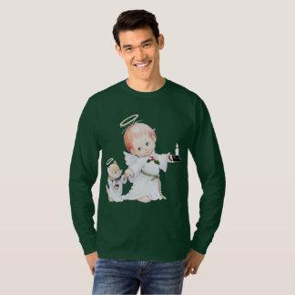 De leuke Engel en de Kat van het Baby van Kerstmis T Shirt