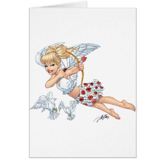 De leuke Engel van de Cupido met de Pijl van de Wenskaart