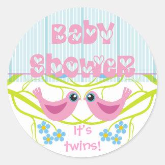 De leuke Envelop van het Baby shower van Vogeltjes Ronde Sticker