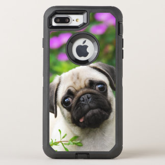 De leuke Fawn Gekleurde Pug Foto van de Hond van OtterBox Defender iPhone 7 Plus Hoesje