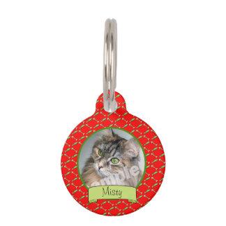 De leuke Foto van de Kat op het Rode Patroon van Huisdierpenning