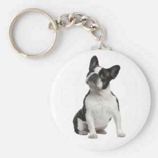 De leuke Franse Hond Keychain van het Puppy van de Basic Ronde Button Sleutelhanger