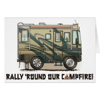 De leuke Gelukkige Grote rv Bus Motorhome van de Notitiekaart