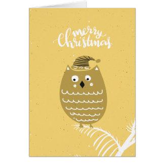 De leuke Gouden Uil van Kerstmis Faux Briefkaarten 0
