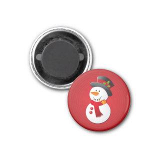 De leuke & Grappige Sneeuwman van Kerstmis Ronde Magneet 3,2 Cm