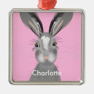 De leuke Grijze Illustratie van Whimsy van Hazen Zilverkleurig Vierkant Ornament
