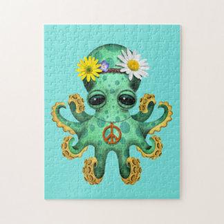 De leuke Groene Hippie van de Octopus van het Baby Puzzel