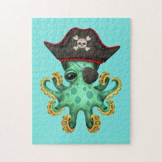 De leuke Groene Piraat van de Octopus van het Baby Foto Puzzels