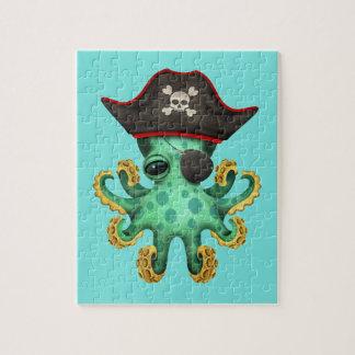 De leuke Groene Piraat van de Octopus van het Baby Puzzel