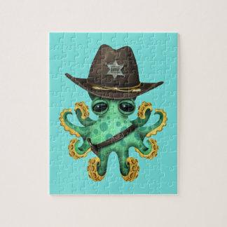 De leuke Groene Sheriff van de Octopus van het Puzzel