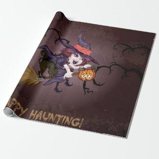 De leuke heks van Halloween op bezemsteel en Inpakpapier