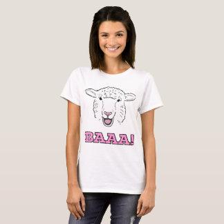 De leuke het Glimlachen Witte Illustratie Baaa van T Shirt