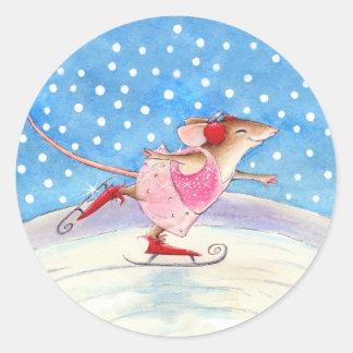 De leuke het Schaatsen Stickers van de Muis
