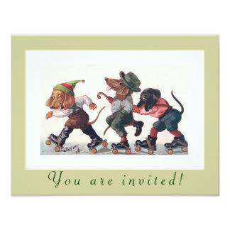 De leuke het Schaatsen van de Verjaardag Grappige 10,8x13,9 Uitnodiging Kaart