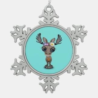 De leuke Hippie van de Amerikaanse elanden van het Tin Sneeuwvlok Ornament