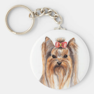 De leuke Hond van het Puppy van Yorkshire Terrier  Basic Ronde Button Sleutelhanger