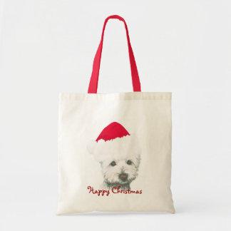 De leuke Hond van Westie van Kerstmis Draagtas