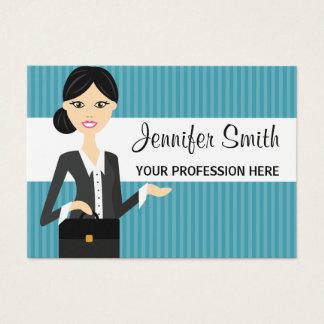De leuke Illustratie Bedrijfs van de Vrouw met Visitekaartjes