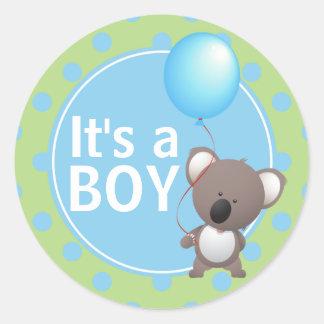 De leuke Jongen van het Baby van de Koala Ronde Stickers