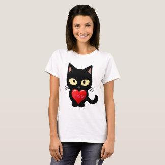 De leuke Kat houdt van u de T-shirt van Valentijn