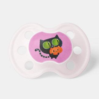 De Leuke Kat van Halloween met pompoen Baby Speentje