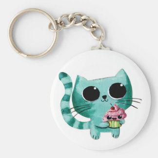 De leuke Kat van het Kat met Kawaii Cupcake Sleutel Hanger