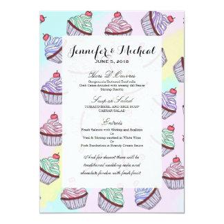 De leuke Kleurrijke Kers Cupcakes van Foodie van 12,7x17,8 Uitnodiging Kaart