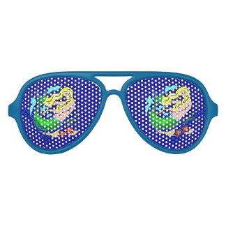De leuke Kleurrijke Meermin droomt Blauw Aviator Zonnebril